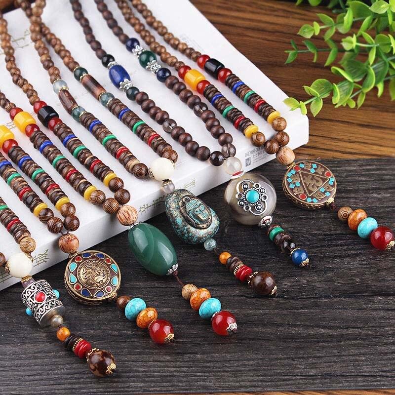 Vintage Ethnische Buddhistischen Mala Halskette Exquisite Holz Perlen Erklärung Halsketten Buddha Anhänger Für Frauen & Männer Schmuck Zubehör