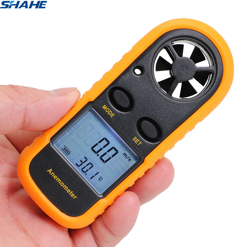 Anemómetro de mano SHAHE anemómetro 30 m/s probador de temperatura-10 ~ 45C medidor de viento retroiluminación LCD