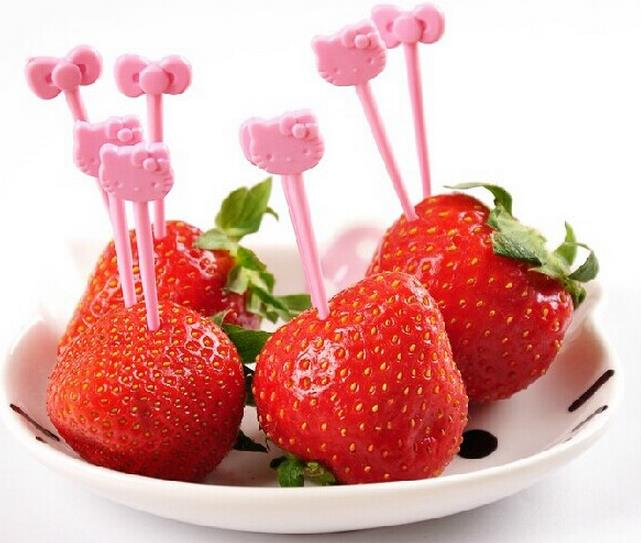 8 unids/pack lindo Hello Kitty reutilizable fruta original Tenedor. Cute vajilla de uso múltiple postre de pastel de merienda tenedores para fiesta