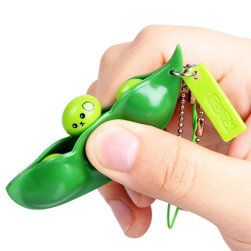 Venta 1PC creativo granos de soja verde clave cadena entretenimiento antiestrés juguete de alivio de estrés Squeeze llavero