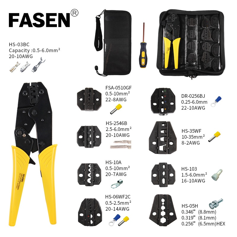hs 625wfl crimping pliers for insulated non insulated ferrules tube terminals self adjusting 6 25mm2 10 3awg tools HS-03BC Crimping pliers 8 jaw for plug spring/tube/insulated/non insulated/crimping cap/coaxial cable connector kit clamp tools