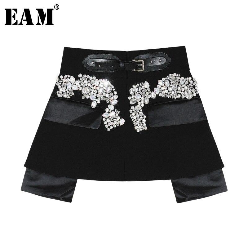 [Eam] 2020 nova primavera outono cintura alta preto beading blingbling emendado personalidade curto metade do corpo saia feminina moda jy758