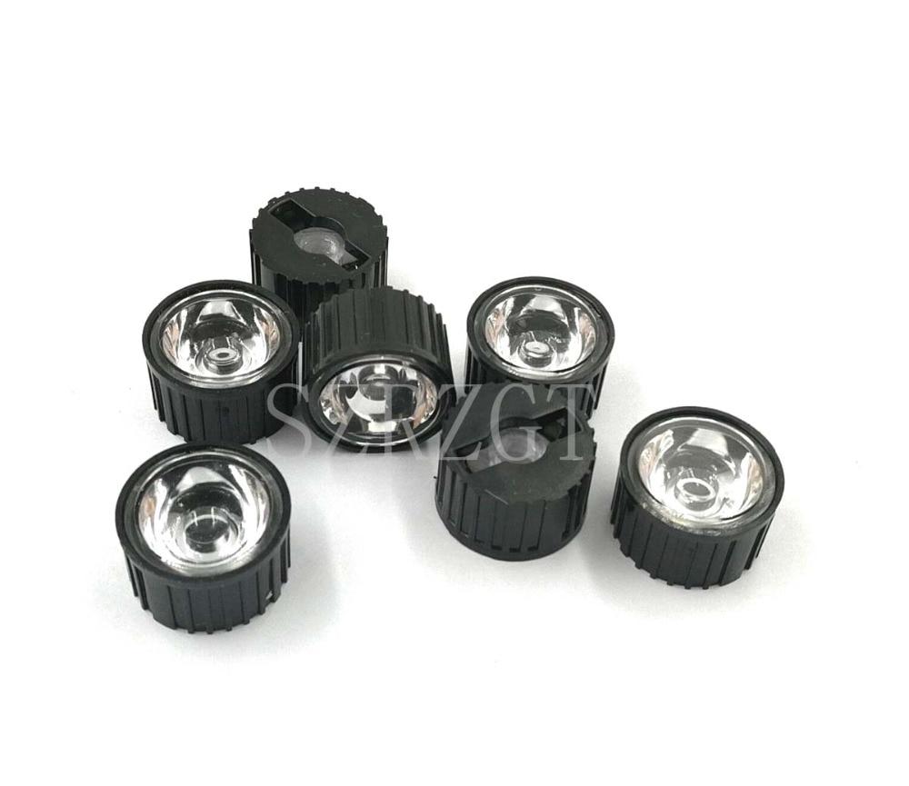 10 Uds. 5/15/25/30/45/60/90/120 grados lente LED con soporte negro para 1W 3W 5W lámpara LED de potencia alta
