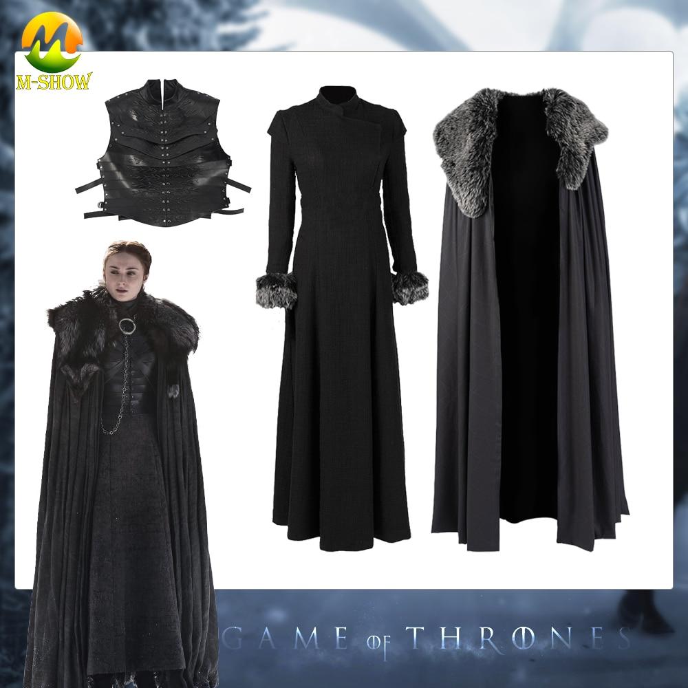 Juego de tronos temporada 8 Sansa Stark Cosplay Vestido largo de fiesta disfraz con capa accesorios para Halloween tamaño personalizado