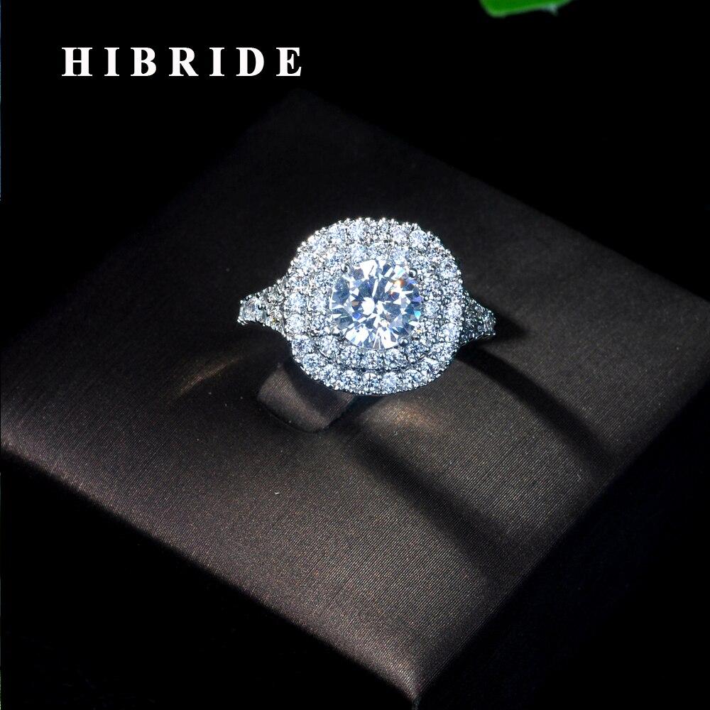 HIBRIDE lujosos anillos de circonia cúbica para boda joyería para fiesta de compromiso Forma de Corona grandes anillos redondos de piedra para mujer R-13