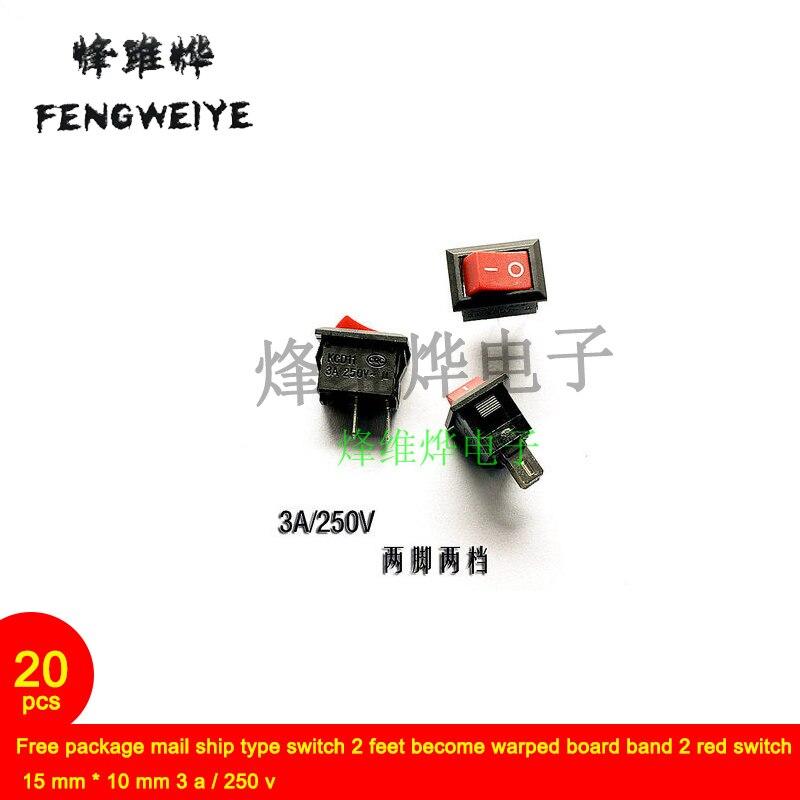 Interruptor tipo barco de correo Paquete gratis 2 pies se convierte en banda de tablero deformado 2 interruptor rojo 15 mm * 10 mm 3 a/250 v (20)