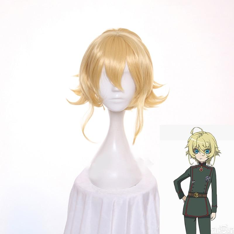 Peluca de Cosplay de Anime de Saga of Anya the Evil, pelucas de Anya Von Degurechaff, peluca de fiesta de color amarillo rubio corto con cola de caballo