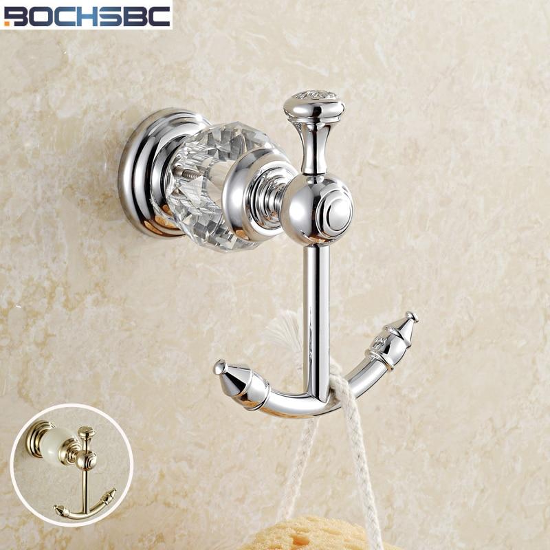 De Cristal de Luxo europeu & Latão Cromado Gancho Cortinas de Banheiro Ouro Toalheiro Acessórios Do Banheiro Gancho Roupas