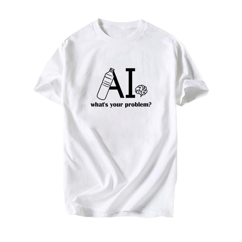 ¿Cuál es su problema? Baiduer creativo de manga corta Camiseta GEEKer divertido Feyenoord agua John Wick AI Brain