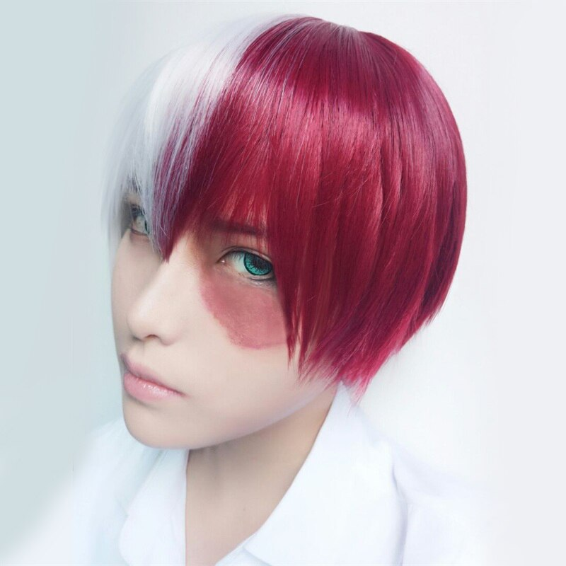 Mi héroe Academia Boku no Hiro Akademia Shoto TODOROKI Shouto corto blanco y resistente al calor rojo Cosplay peluca disfraz + peluca