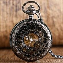 PA010 Village noir squelette creux mécanique montre de poche montres remontage à la main pour hommes ou femmes