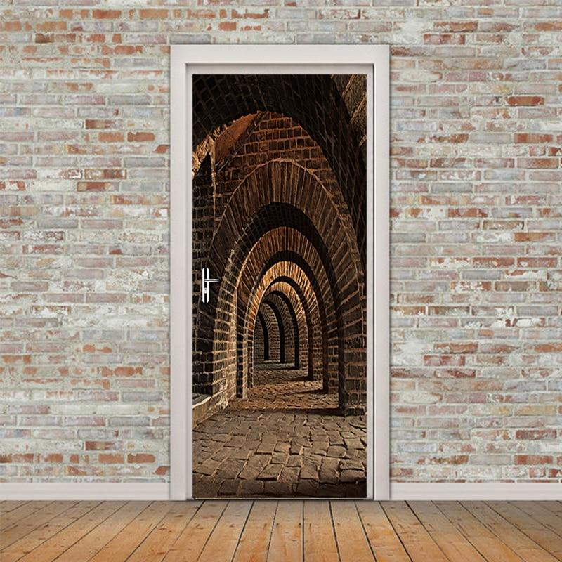 Tür Aufkleber 3D Stereo Raum Foto Wandbild Tapete PVC Vinyl Wand Abziehbilder Tür Wandbild Schlafzimmer Tür Aufkleber Wasserdichte Wohnkultur