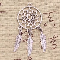 5pcs charms native dream catcher connector antique making pendant fitvintage tibetan bronze silver colordiy handmade jewelry