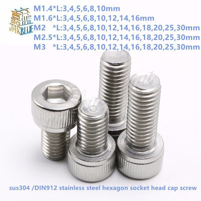 (50 pc/lot) M1.4,M1.6,M2,M2.5,M3 *L sus304 stainless steel hexagon socket head cap screw / model auto diy screw,DIN912