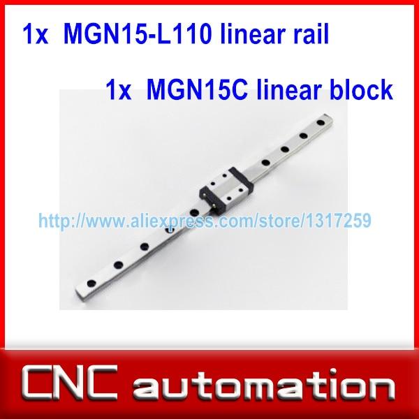 1 pc 15mm largura 110mm linear MGN15 Blocos MGN guia de transporte ferroviário + 1 pc MGN15C carriage CNC