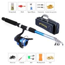 Kit combiné de pesca de canne à pêche et de canne à pêche avec sac de rangement de pêche Portable olta takimlari