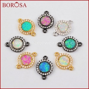 BOROSA Mix Color Round Manmade Opal Druzy Connector for Bracelet, New Spacer CZ Cubic Zircon Crystal Pave Connector WX557