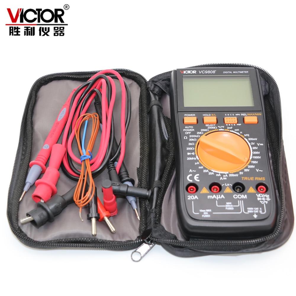 Victor vc9808 + 3 1/2 multímetro digital medidor elétrico indutância dcv acv dca/r/c/l/f