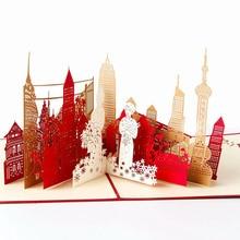 Cartes dinvitation 3D découpées au Laser   Cartes de vœux, Architecture Shanghai faite à la main, Collection de souvenirs pour Festival daffaires