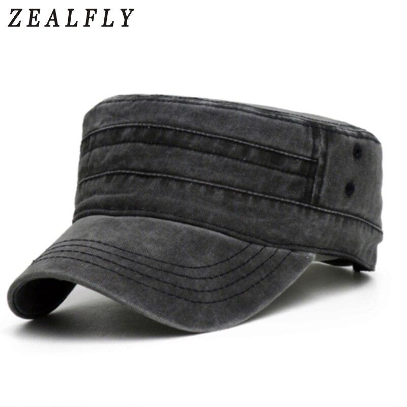 Solid Color Vintage Denim Flat Top Mens Hats Outdoor Casual Sun Flat Cap For Women Unisex Adjustable