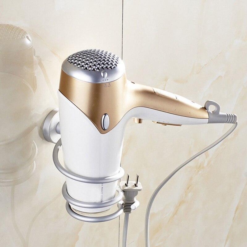 Estante de pared de aluminio para baño 2019, estante de pared para secador de pelo, soporte de soporte para secador de pelo, soporte en espiral