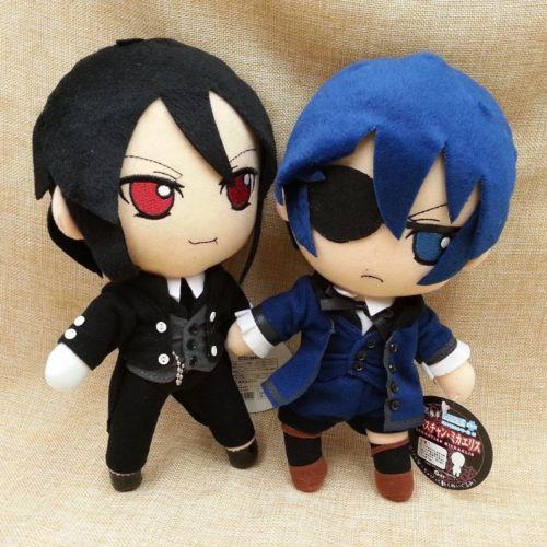 "Anime Black Butler Kuroshitsuji Sebastian Michaelis Ciel Plush Macio Stuffed Dolls 10 ""26 cm"