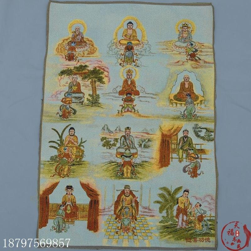 Coleção de natal thangka buda tibetano seda bordado brocado pintura nepalês buda três budas dia das bruxas