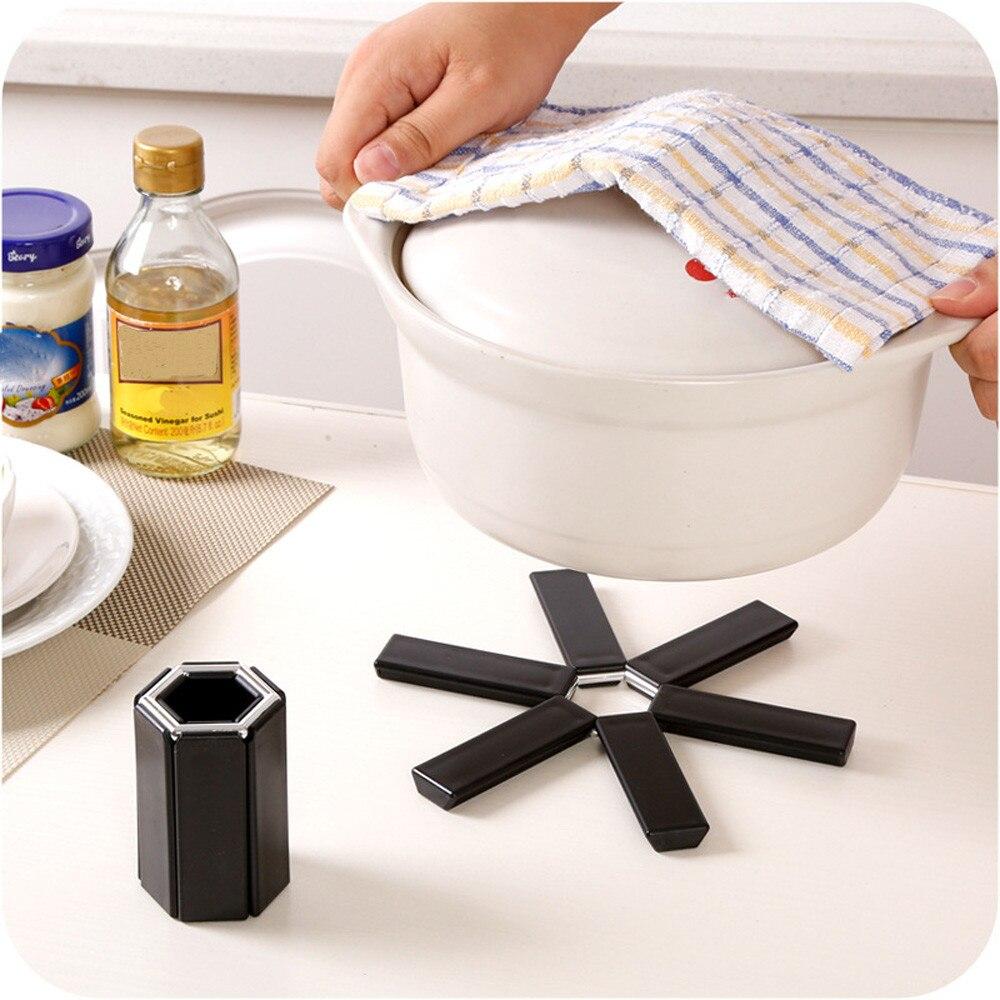 Negro plegable antideslizante resistente al calor almohadilla Trivet Pan mantel Pot Holder Mat posavasos Cushion accesorios de cocina