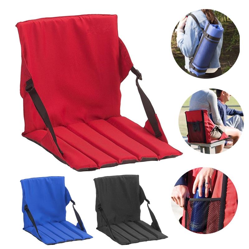 Silla de cojín plegable al aire libre con respaldo portátil de alta calidad de tela Oxford asiento plegable ajustable