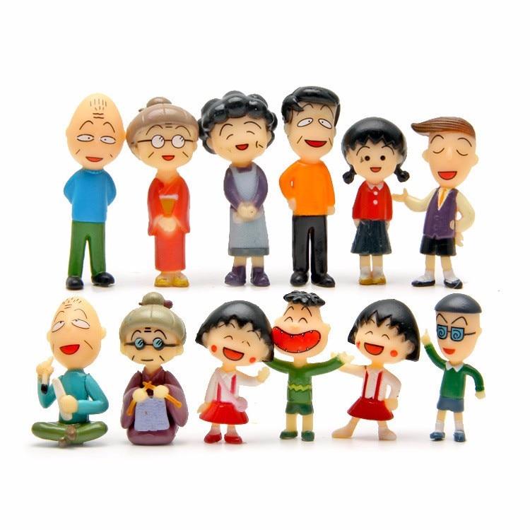 Bonita película de moda 12 unids/set Chibi Maruko Chan Pvc figuras muñeca colección Anime regalo juguete nuevo