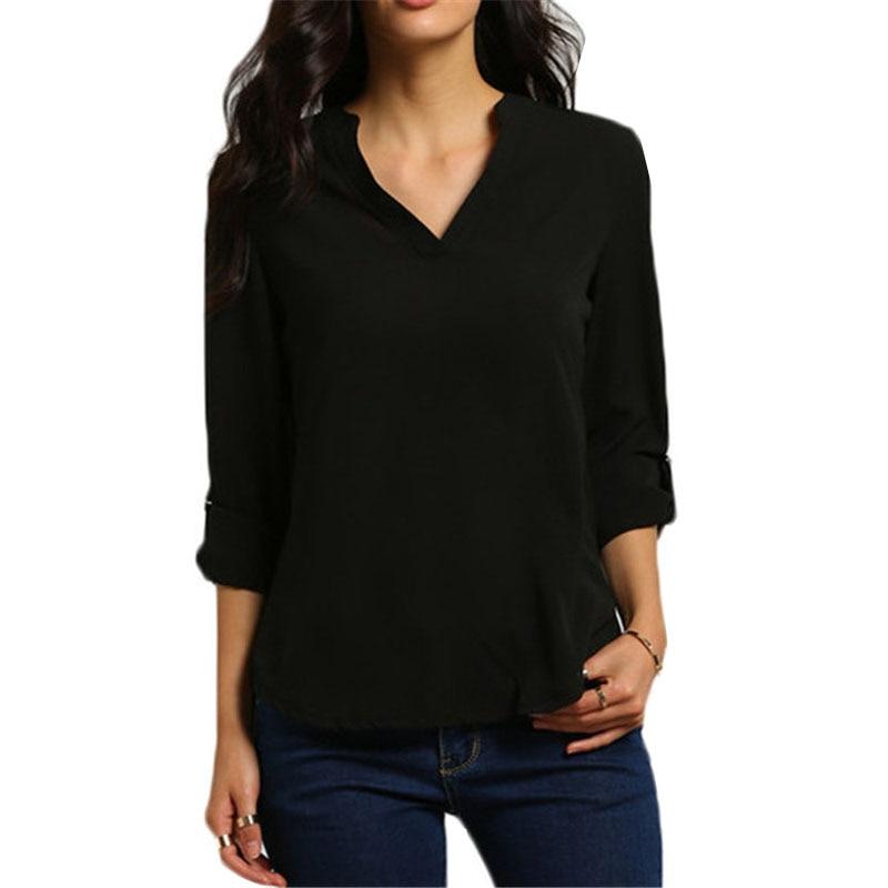 2019 camiseta de Europa América de talla grande con cuello en V para mujer, camisa de gasa suelta arrugada, ropa para mujer, Vestidos YFF6115