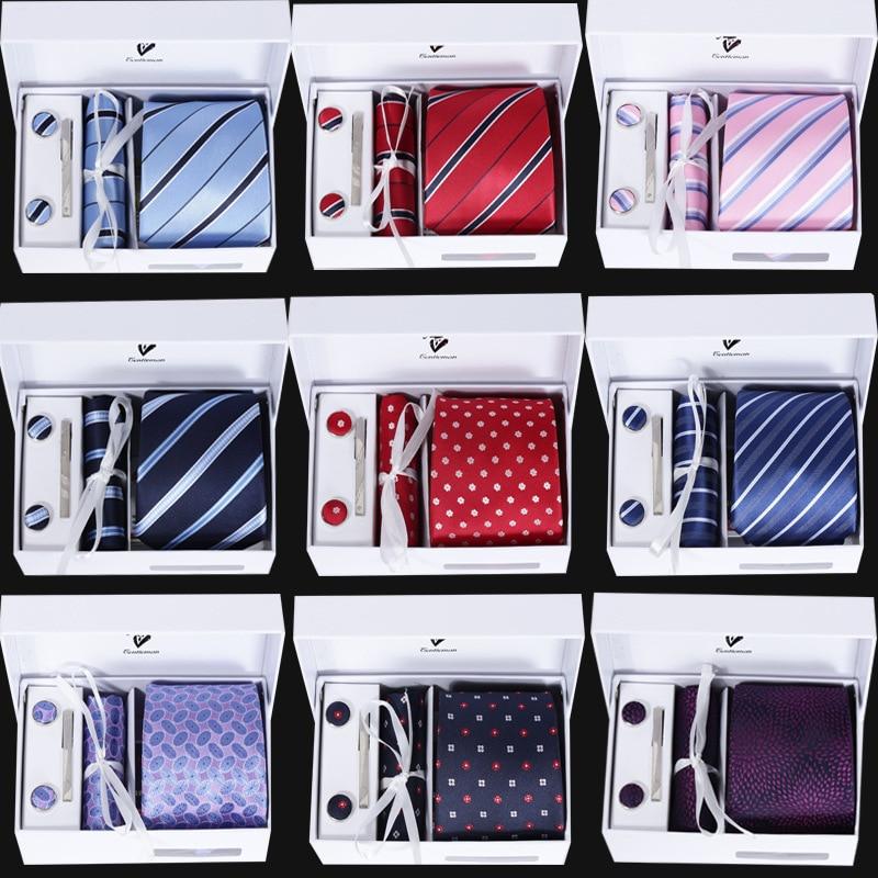 Fashion 8 CM Mens Tie  Mens Knit Ties Hankerchief   Men Accessories 6PCS/SET Gift Box Skinny Ties Sets