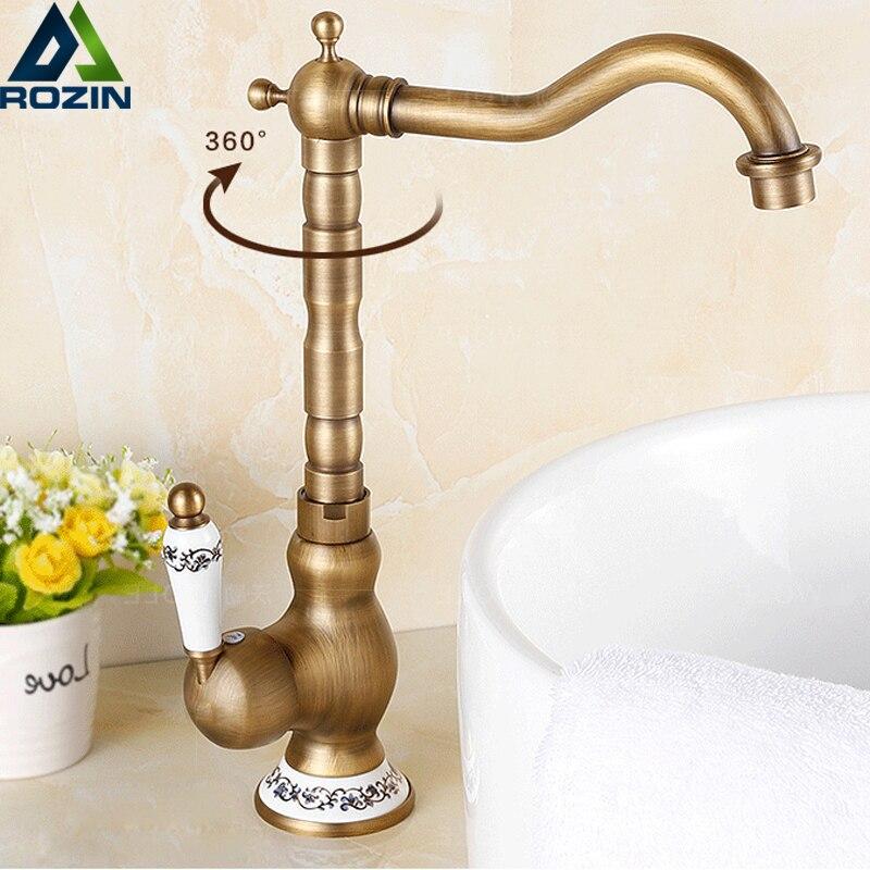 Antique Basin Vanity Sink Faucet Rotate Spout Deck Mount Hot Cold Mixer Water Tap Ceramic Handle Bathroom Kitchen Crane Cock