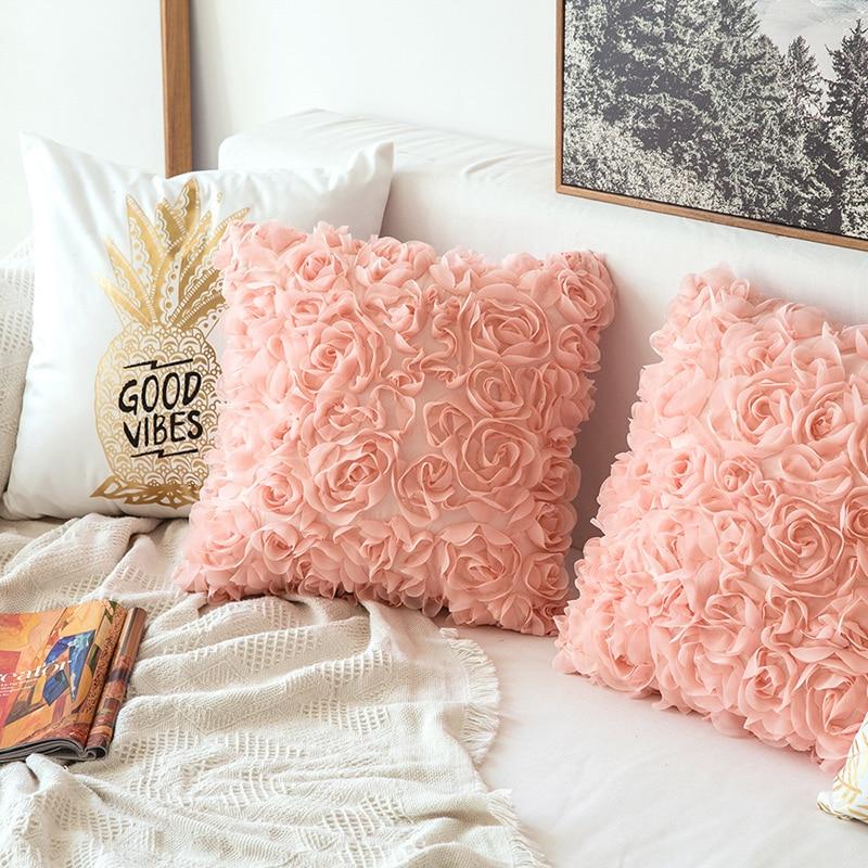 Funda de cojín DUNXDECO, funda de almohada decorativa, funda de almohada 3D de chifón Rosa bordado, decoración de habitación romántica, sofá cama, regalo de amor