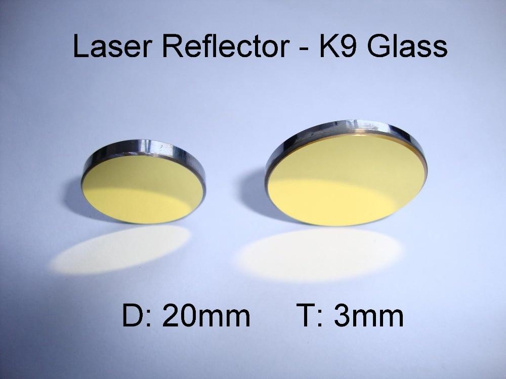 Reflector de vidrio K9 de 20mm, reflector láser de CO2 chapado en oro K9, reflector de vidrio K9 para máquina de corte con grabadora láser