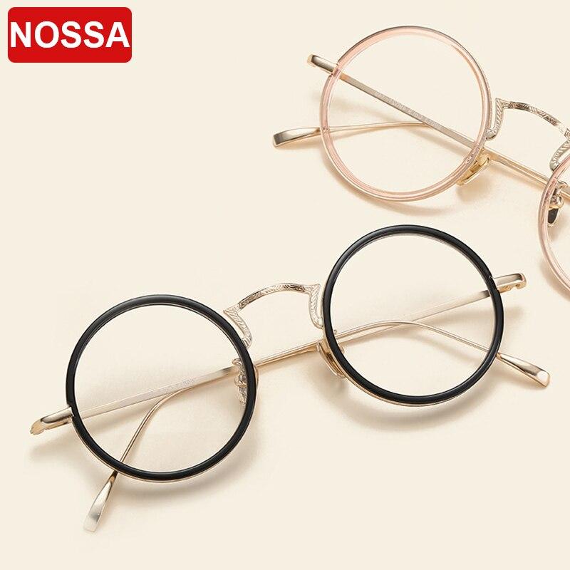 NOSSA, nuevo diseñador, monturas de gafas redondas Vintage, gafas ópticas elegantes de moda para mujeres, gafas para miopía para hombres, lente clara de Anteojos