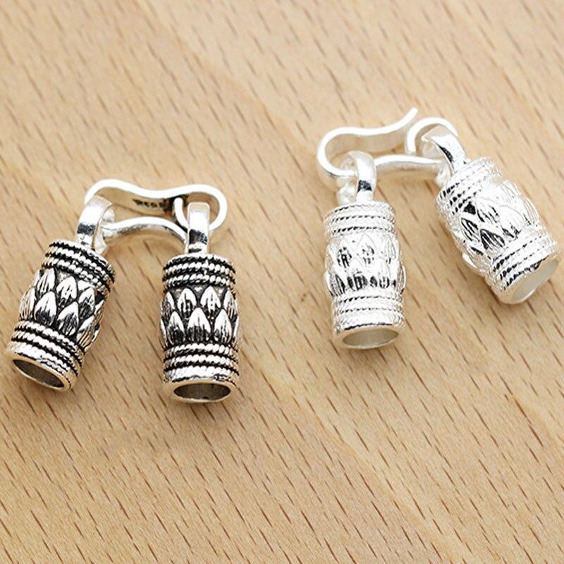 Pulsera con diseño de loto de Plata de Ley 925 a la moda, ganchos con cordón, hebilla DIY, conectores para pulseras, accesorios de joyería