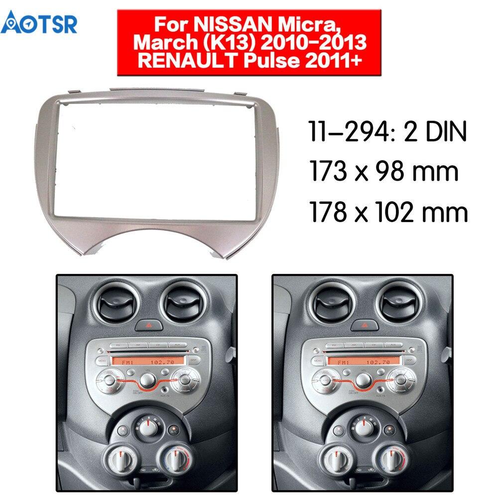 2 din Fascia for NISSAN Micra March (K13) 2010-2013 for RENAULT Pulse 2011+ Audio Mount Installation Dash Kit Frame Adapter Trim