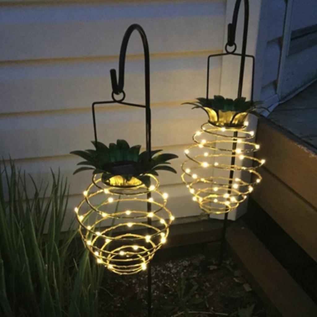 Gran oferta de luces solares de jardín al aire libre piñas porche decoración para paisajismo luces LED a prueba de agua al aire libre Solar linterna Auto On/Off