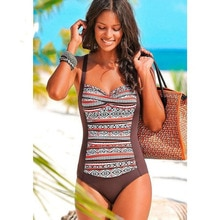 2020 Sexy Vintage Floral Plus size Women Swimwear Bandeau Print One piece Swimsuit Push up Female Bathing suit Monokini XXL