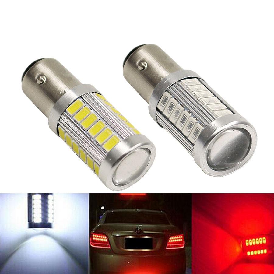 Ampoule lumineuse 1157 bay15d p21/5w   5730 33SMD, feu de stationnement arrière Auto, ampoule rouge, blanc et jaune 12V, Super lumineux