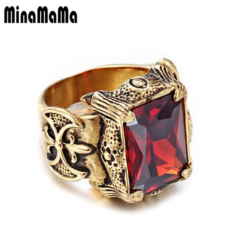 Joyería para hombre, anillo de acero inoxidable con sello de Color dorado, anillos de cristal brillantes grandes para mujeres y hombres, anillos Punk Rock Dragon Signet