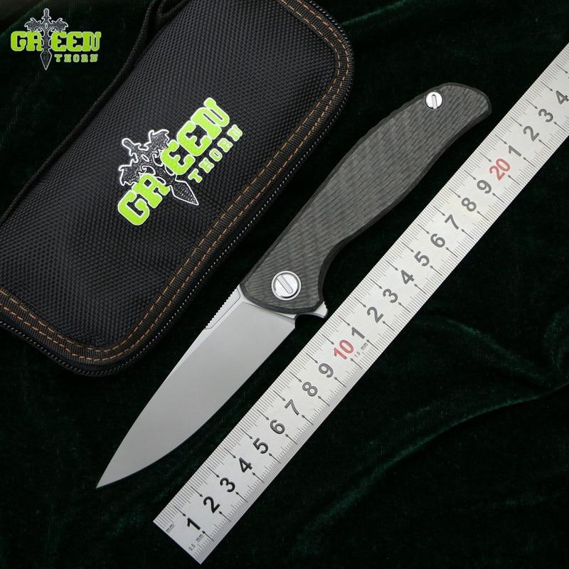 Зеленый шип hati 95 Флиппер складной нож D2 лезвие титановый подшипник CF 3D Ручка Кемпинг Охота Открытый фрукты Ножи EDC инструменты