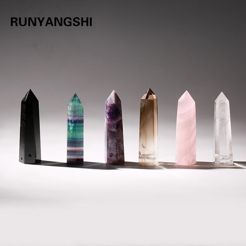 Natural Crystal Columns of Various Materials quartz Semi stone Hexagonal single point magic wand decorate water bottel