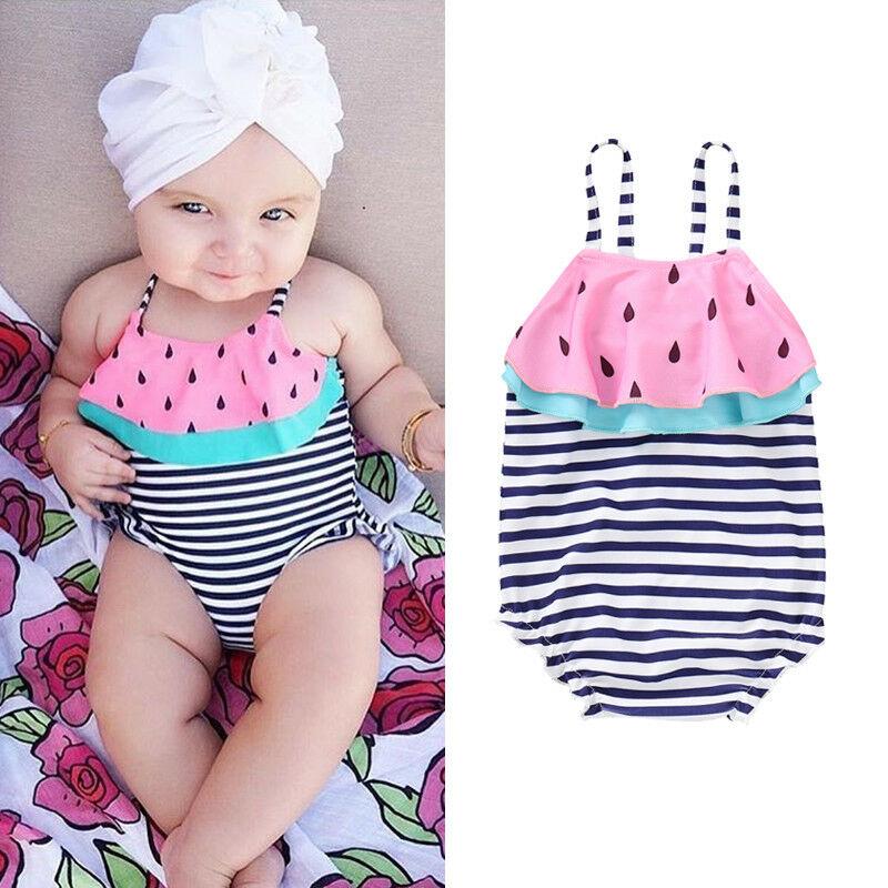 Verano niños bebés niñas sandía rayas Patechwork Swimsuit Bikini traje de baño