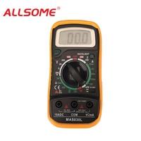 ALLSOME Mini Pocket MAS830 LED Digital Multimeter DC/AC Voltage Current Resistance Tester and 2000 Counts Ammeter Multimetster M