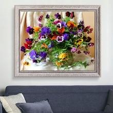 جديد جميلة الملونة زهرة DIY بها بنفسك الماس التطريز الماس الفسيفساء اللوحة عبر الابره عدة ديكور المنزل مربع كامل الماس الأزهار