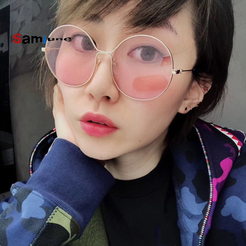 Samjune Vintage Round Sunglasses Women Reflective Sun Glasses Female Women's Shades Brand Designer L