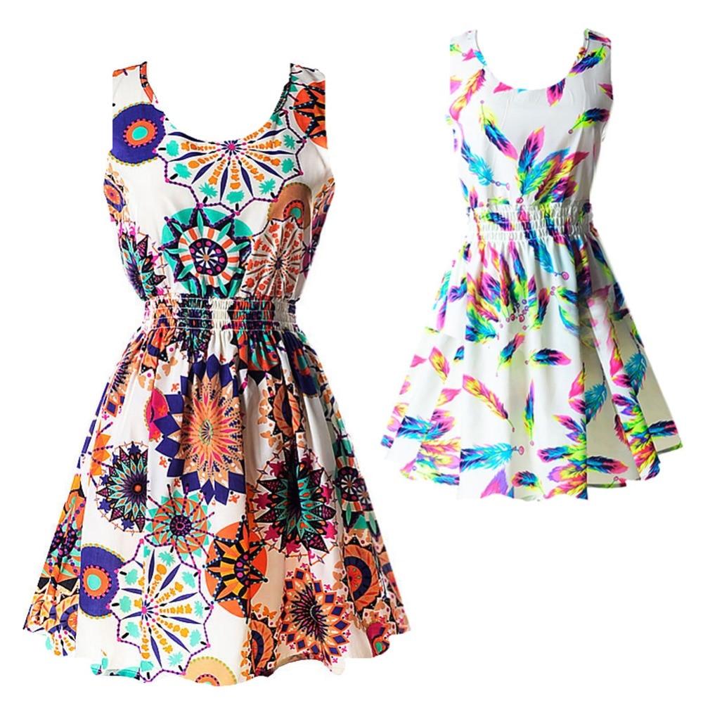 Dresses Woman Party Sleeveless Bohemia Sundress Floral Summer Sexy Women Tank Chiffon Beach Dress Slim Bodycon