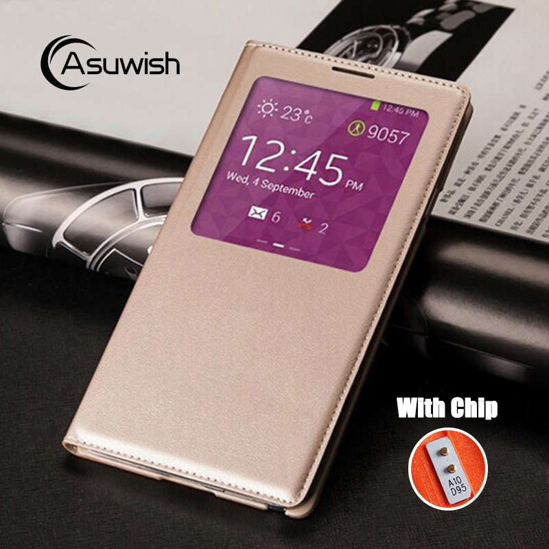 Flip-Cover Leder Telefon Fall Für Samsung Galaxy Note 3 Galaxi Nicht Note3 SM N900 N9000 N9005 S SM-N900 SM-N9005 smart View Chip